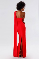 Drexcode - One-shoulder red dress with drapery - Tot-Hom - Rent - 7