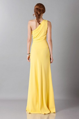 Yellow one-shoulder dress with front train - Vionnet - Rent Drexcode - 2
