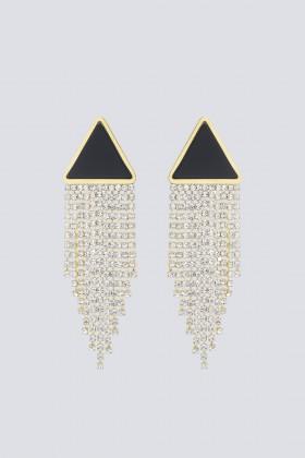 Orecchini triangolo in strass e resina - Sharra Pagano - Rent Drexcode - 1