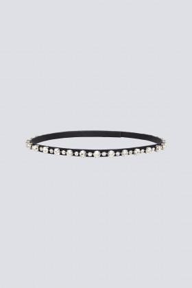 Cintura sottile in seta, pelle e cristalli - CA&LOU - Rent Drexcode - 1