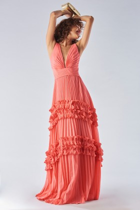 Strawberry dress with ruffles - Halston - Rent Drexcode - 1