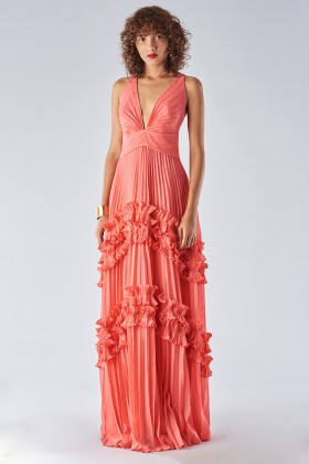 Strawberry dress with ruffles - Halston - Rent Drexcode - 2
