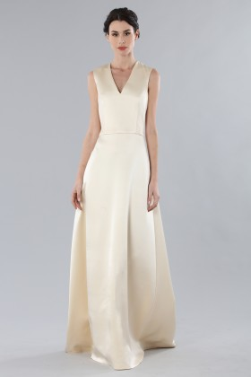Ivory dress with V-neck in silk satin - Alberta Ferretti - Rent Drexcode - 2