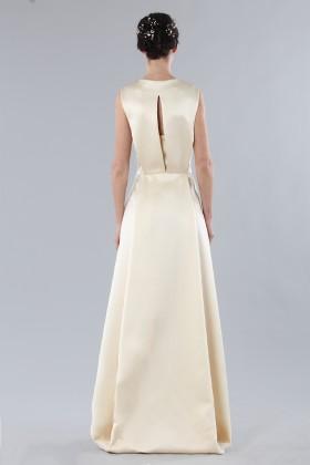 Ivory dress with V-neck in silk satin - Alberta Ferretti - Rent Drexcode - 1