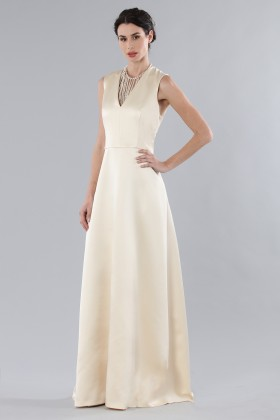 Ivory dress with V-neck in silk satin - Alberta Ferretti - Rent Drexcode - 2