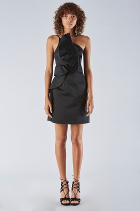 Short black dress with one-shoulder ruches detailing - Amur - Sale Drexcode - 2