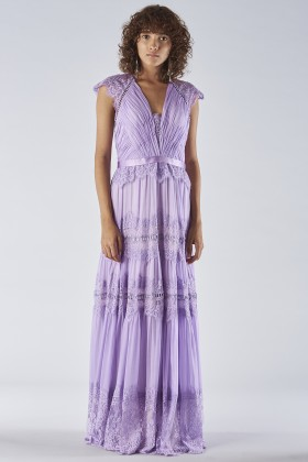 Lavender dress with lace applications - Catherine Deane - Rent Drexcode - 1