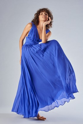 Long blue dress with uncovered back - Amur - Rent Drexcode - 1