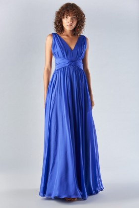 Long blue dress with uncovered back - Amur - Rent Drexcode - 2
