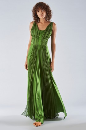 Long green dress with ruffles - Amur - Rent Drexcode - 2