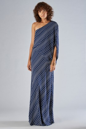 One shoulder dress with striped pattern - Halston - Rent Drexcode - 1