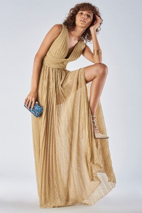Braided glitter gold dress - Iris Serban - Rent Drexcode - 1