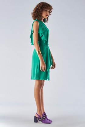 Green dress with asymmetrical sleeves - Halston - Rent Drexcode - 2