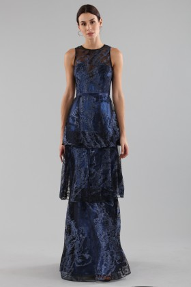 Long dress with brocaded laminé blue ruffles  - Theia - Rent Drexcode - 1