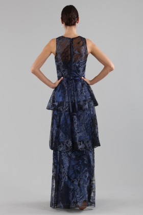 Long flounced dress in blue laminated brocade - Theia - Sale Drexcode - 1