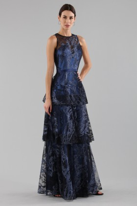 Long dress with brocaded laminé blue ruffles  - Theia - Rent Drexcode - 2