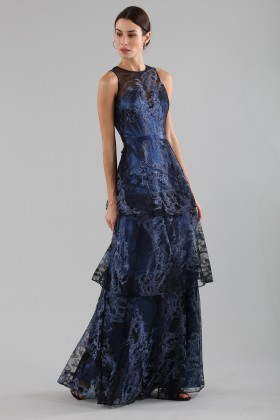 Long flounced dress in blue laminated brocade - Theia - Sale Drexcode - 2