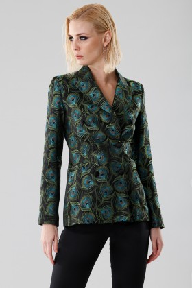Jacket in peacock print - Giuliette Brown - Rent Drexcode - 1