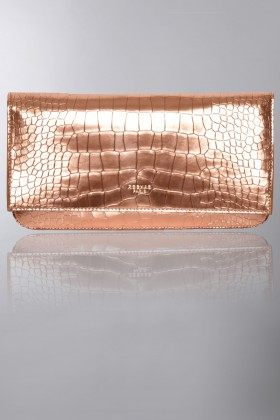 Brass leather clutch - Rochas - Rent Drexcode - 1