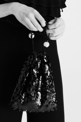 Pouch Bag in paillettes nera - CA&LOU - Rent Drexcode - 1