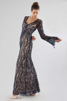 Blue lace dress with front slit - Catherine Deane - Rent Drexcode - 2