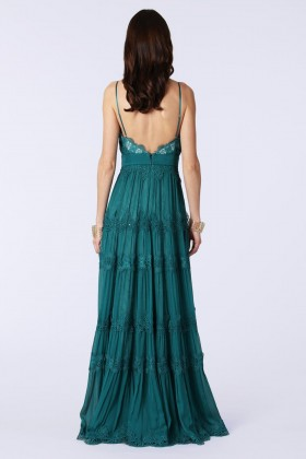Green dress with lace embroidery and worked neckline  - Catherine Deane - Rent Drexcode - 2