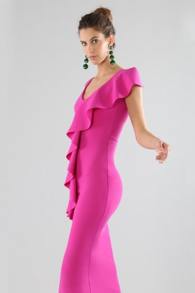 Fuchsia dress with ruffles - Chiara Boni - Rent Drexcode - 1