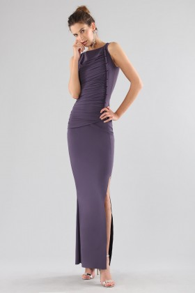 Plum dress with drapery - Chiara Boni - Sale Drexcode - 1