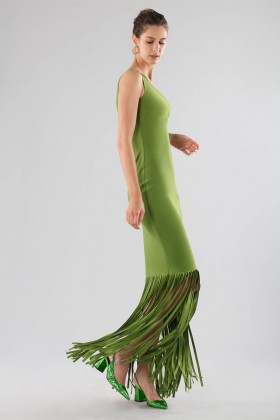 Green one-shoulder dress with fringes - Chiara Boni - Sale Drexcode - 2