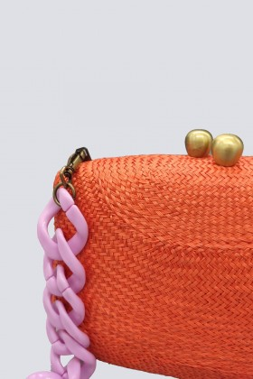Clutch arancione con manico in plastica - Serpui - Sale Drexcode - 2