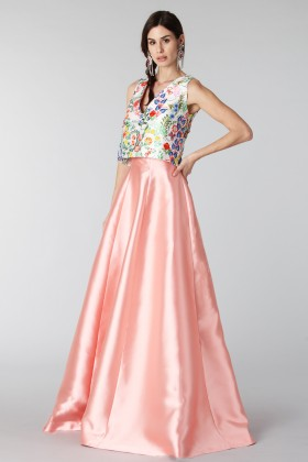 Complete pink skirt and floral top in silk - Tube Gallery - Rent Drexcode - 2