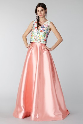 Complete pink skirt and floral top in silk - Tube Gallery - Sale Drexcode - 1