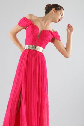 Off-shoulder fuchsia dress with slit - Cristallini - Rent Drexcode - 2