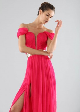 Off-shoulder fuchsia dress with slit - Cristallini - Rent Drexcode - 1
