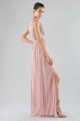 Long pink dress with deep neckline - Cristallini - Rent Drexcode - 2