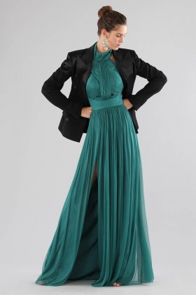 Green dress with halter neck - Cristallini - Rent Drexcode - 2
