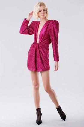 Fuchsia glitter dress with shoulder pads - Daniele Carlotta - Rent Drexcode - 2