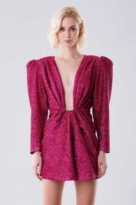 Fuchsia glitter dress with shoulder pads - Daniele Carlotta - Rent Drexcode - 1