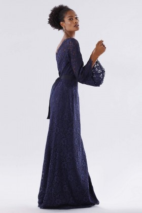 Blue lace dress with calla sleeves - Daphne - Sale Drexcode - 2