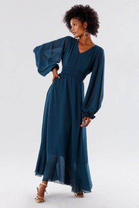 Teal dress in silk georgette - Daphne - Rent Drexcode - 1