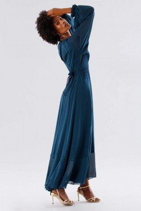 Teal dress in silk georgette - Daphne - Rent Drexcode - 2