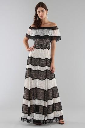 Striped lace off shoulder dress - Alice+Olivia - Rent Drexcode - 1
