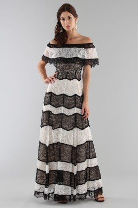 Striped lace off shoulder dress - Alice+Olivia - Sale Drexcode - 1