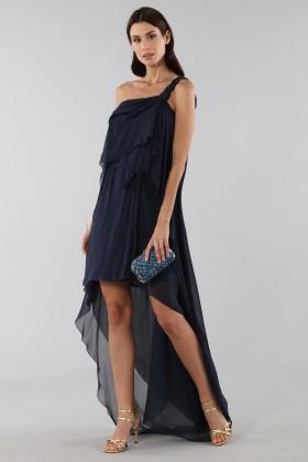 Asymmetric blue silk dress - Alberta Ferretti - Rent Drexcode - 2