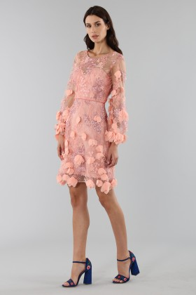Cocktail dress with 3D floral embroidery - Marchesa Notte - Rent Drexcode - 2