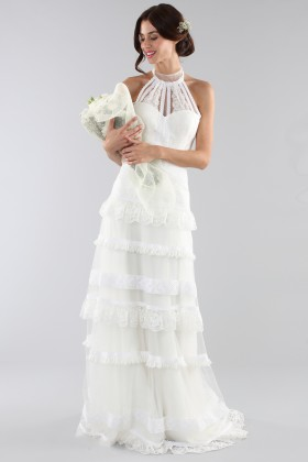 Lace wedding dress with american collar - Ilenia Sweet by Bellantuono - Rent Drexcode - 1
