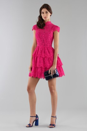 Fuchsia lace dress with skirt - Alice+Olivia - Rent Drexcode - 2