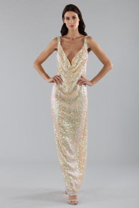 Dress in silver and gold sequins - Alcoolique - Rent Drexcode - 1