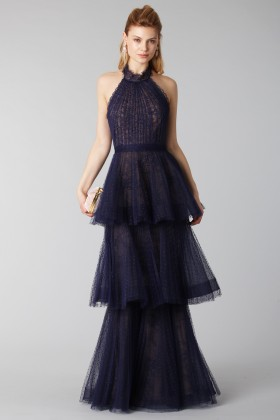 Blue lace dress with volants - Marchesa Notte - Rent Drexcode - 1
