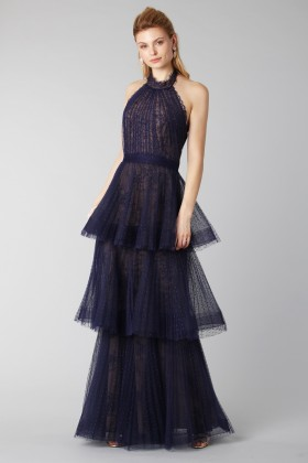 Blue lace dress with volants - Marchesa Notte - Rent Drexcode - 2
